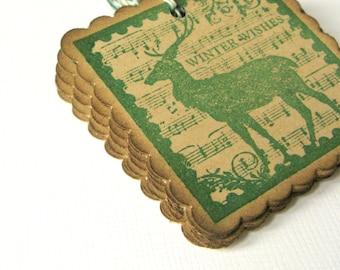 Christmas Tags, Reindeer Gift Tags, Gift Packaging, Christmas Gift Tags, Reindeer, Holiday Packaging, Gift Tags, Rustic Christmas, Vintage