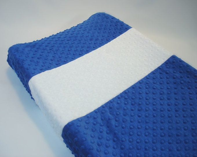 Cobalt Blue Changing Pad Cover with Stripe