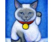 Siamese Maneki Neko.  Cat Art  8 x 10 print