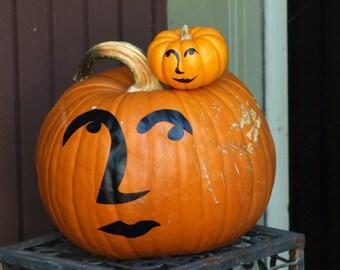 Halloween Pumpkin Decals, Home Decor, Pop Art Decals, 9 Face Stickers for Pumpkins