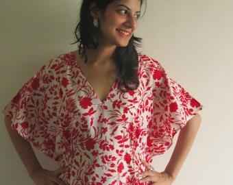 Drawstring Free Leafy Kaftan Dress Summer Dress, Long Maxi, loungewear, beachwear, Maternity Dress, Holiday Vacation Wear