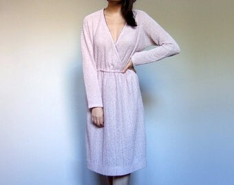 70s Pale Lilac Day Dress Pastel See Through Nubby Knit Woven Long Sleeve Casual Winter Dress - Large L