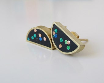 black confetti brass half moon stud earrings