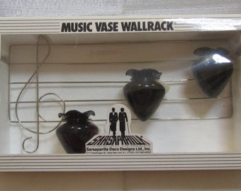 Music Vase WallRack  with 3 Black Amethyst Glass ~ by SDD ~ Style 814
