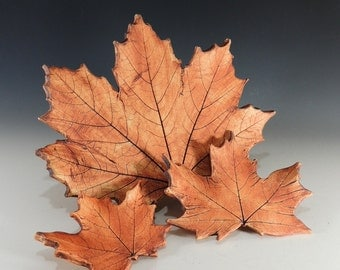 Maple Leaves Set of 3 /  Made from Real Leaves in Stoneware Clay / Nature Decor / Fall Wedding Decor / Home Decor / Table Decor
