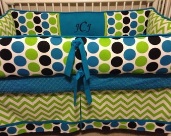 Mod Dot Lime, black  and Turquoise Baby bedding Crib set DEPOSIT ONLY