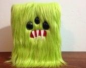 """Lime Green 4"""" x 6"""" Monster Sketchbook - Three Black Eyes"""