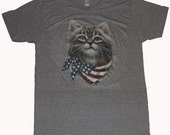 Cat wearing American Flag Bandana American Apparel Tri-Blend Athletic Gray T-shirt  Xs  S  M   L or Xl