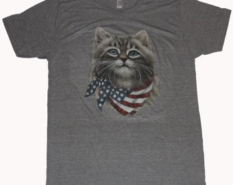 Cat wearing American Flag Bandanna Made in USA Athletic Gray SOFT T-shirt   S  M   L  Xl or XXL
