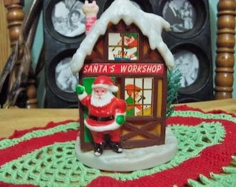 santas workshop vintage  plastic old  Christmas decoration show piece for  display