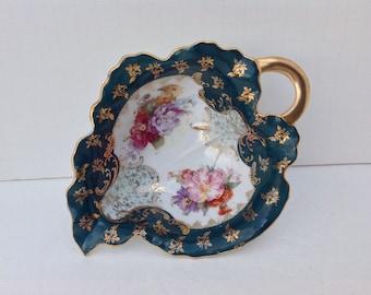 Victoria Austria Handpainted Porcelain Leaf Shaped Dish