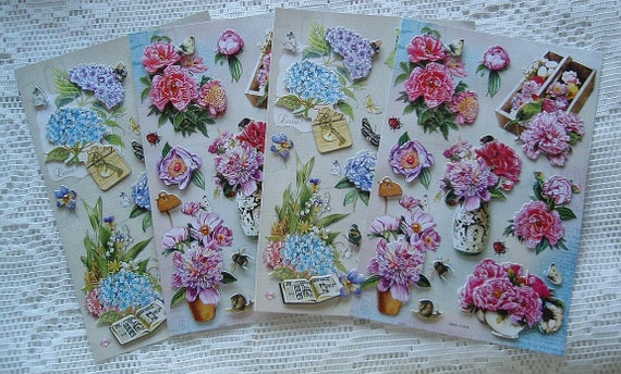Over 40 Sticker 4 Sheets of Scrapbooking Die Cut STICKERS 3D Flowers Blue Hydrangeas Pink Peonies Birds Butterflies Card Making
