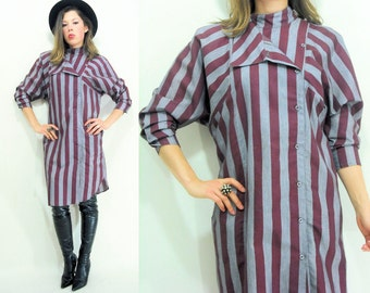 WIDE STRIPED Shirtdress 80's Vintage Burgundy and Gunmetal Gray Stripe Shirt Dress Oversize Dolman Sleeve Tunic