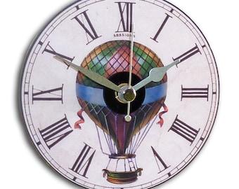 Illustrated Mini Wall Clock featuring vintage hot air balloon