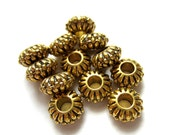 18 Large hole beads antique gold  metal spacer ethnic jewelry supply 10mm x 5mm hole 3.5mm 29AGNR