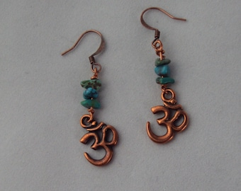 Antique Copper OM and Turquoise Earrings