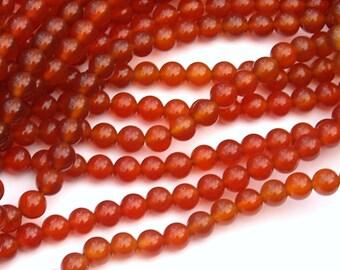 6mm Round Carnelian Round Full Bead Strand 60-64 beads