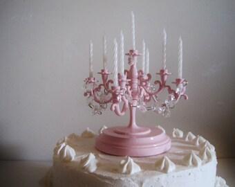 Oh So Blush Pink Candelabra Wedding Cake Topper MADE TO ORDER