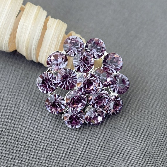10 Rhinestone Button light Lavender Purple Round Diamante Crystal Hair Flower Comb Wedding Invitation Scrapbooking BT113