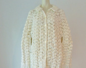 70s Winter Wonderland hand crocheted CAPE any size