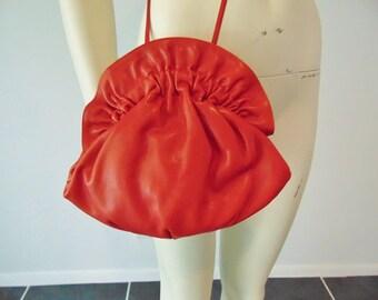 80s SHARIF red leather shoulder bag purse