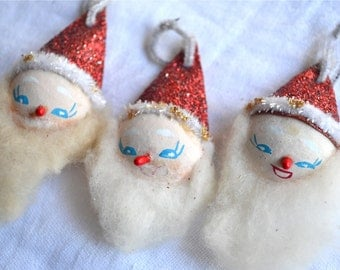 Vintage Christmas Ornaments - Spun Cotton Santas With Glitter Hats - 3