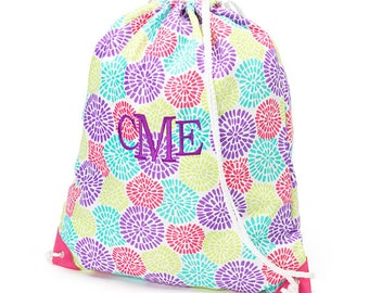 Girls Monogrammed Bloom Print Drawstring Backpack Gym Bag Personalized Cinch Sack