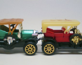 Vintage Horseless Carriage 1910's Collectable Numbered Plastic Cars Toys Lot Of 5 Moving Wheels Victorian Times