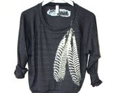 Black Raglan Pullover with Pale Yellow Feathers hand printed by Blonde Peacock - black sweatshirt with Feather design