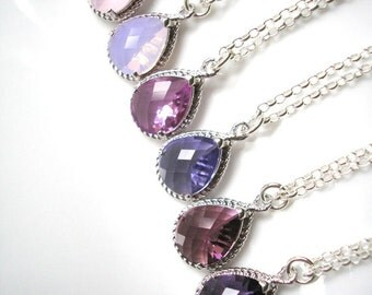 Ombre Bridal Set, Set of 6, Bridesmaid Gifts, Bridesmaid Jewelry, Sterling Silver, Purple Wedding Sets, Ombre Bridesmaids, Amethyst Pendant