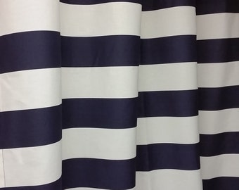 "Pair of designer GROMMET curtain panels drapes, horizontal 3"" stripes navy blue and white decorator cotton"
