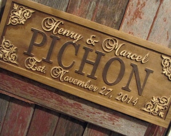 Personalized Family Name Sign Custom Wedding Gift Wood Sign Carved Last Name Home Décor Established Plaque Engraved Couple Anniversary Sign