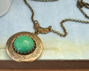 jewelry locket necklace - JADE - vintage Swarovski green color glass jewel locket necklace in antique brass