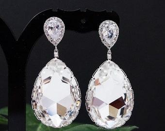 Wedding Jewelry Bridal Earrings Bridesmaid Earrings Dangle Earrings Clear White Swarovski Crystal Tear drop Earrings