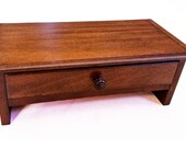 Mahogany Computer Monitor  Stand and  Desktop Organizer  with Drawer