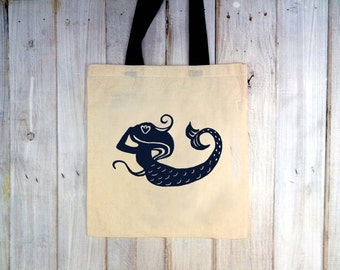 Eco-Friendly Mermaid in Navy with Navy Handles Reusable Canvas Tote Bag