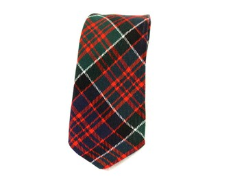 Vintage Mmen's Necktie - Lochcarron Scottish Plaid Wool Necktie -  Blue Green Red and White
