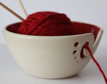 Red Yarn Bowl / Knitting Bowl / Crochet Bowl / Red and White Yarn Bowl / 6 1/4 inch Yarn Bowl / Made To Order