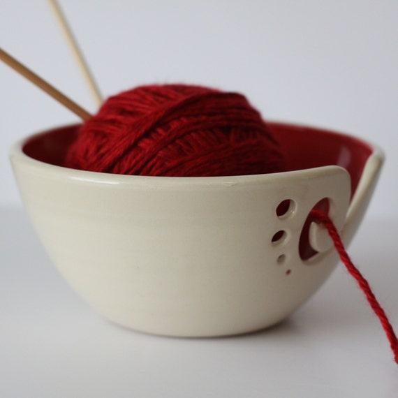 Crochet Yarn Bowl : Yarn Bowl, Knitting Bowl, Crochet Bowl, Red and White Yarn Bowl ...