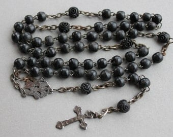 RARE Antique Saint Wilgefortis Antique French Rosary Relic / Bearded Lady