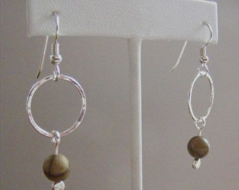 Earthy Crunchy - Hand Forged Fine Silver and Picasso Jasper Earrings