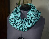 Infinity Scarf Flannel with Black and White Skulls on Teal