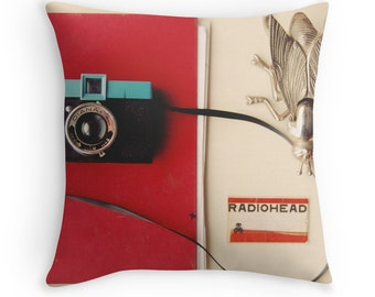 Throw Pillow Case : Vintage Collection Diana Camera Radiohead Red Blue Minimal Home Decor