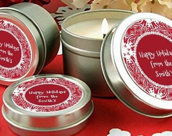 Big Red Snowflake-Personalized Christmas Candle Favors – Scented Candle in Tin- Set of 10