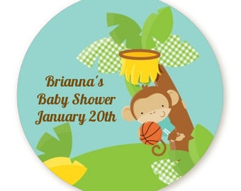 Team Safari - Personalized Round Baby Shower Sticker Labels - Available in 4 Different Sizes - Custom Design