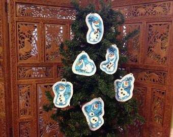 Frozen inspired christmas ornament set of 6 (not a licensed product) Olaf set 1