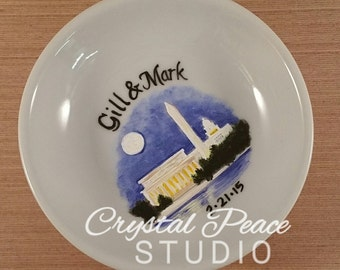 Custom Hand Painted Ring Dish - Engagement Location - Destination Wedding