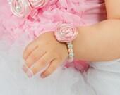 Newborn Rosette Bracelet, Pink cream white Baby Girl Glass Bead Pearl Beads w Fabric Flower, photo prop baby shower gift Pale Pink Christmas