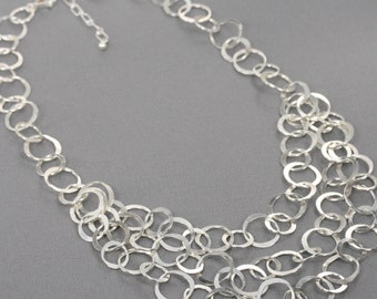 Sterling Silver Chain Statement Necklace, Handmade Hammered Silver Multi Strand Chain Necklace, Artisan Silver Jewelry,