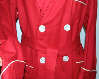 vintage 30s 40s wool robe State O Maine cranberry button front pea coat M